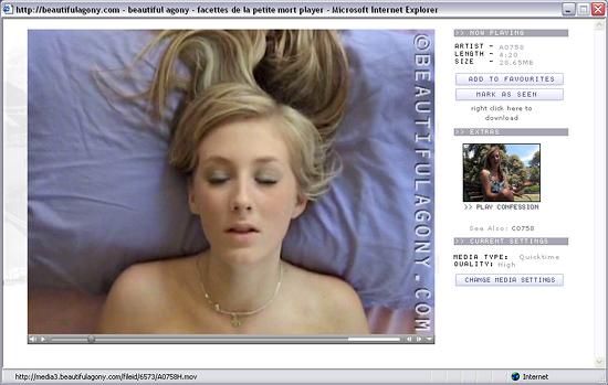 Cкриншот одной из страниц ставшего уже легендарным арт-порно сайта Beautiful Agony (Прекрасная Агония), посвященного красоте оргазма