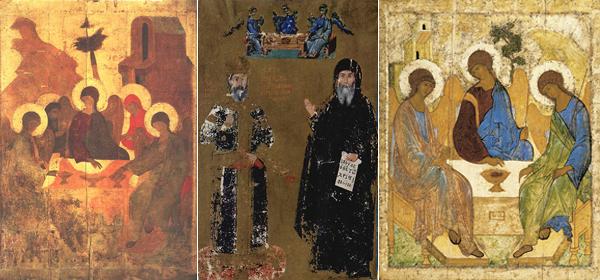 В центре двойной портрет Иоанна VI Кантакузина и Живоначальная Троица. Справа Троица Андрея Рублева, слева икона, найденная при разорении Троице-Сергиевого монастыря в 1920 году, возможно, она и есть настоящая икона Андрея Рублева
