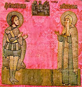 Слева Великомученник Никита, справа Никита Стопник Переславский. Вышивка
