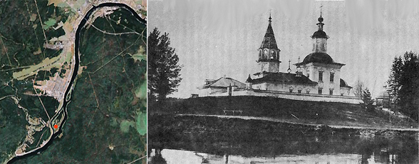 Дедов Остров на карте со спутника (красная точка). Справа - Храм на острове, начало 20 века
