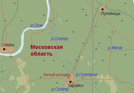 река осетр московская область рыбалка на карте