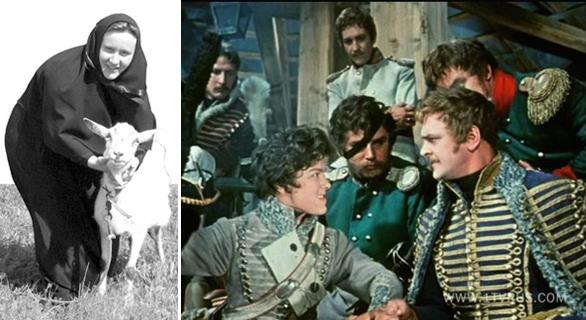 """Та самая козочка, с которой фотографировался патриарх. Справа кадр из фильма """"Гусарская балада"""""""