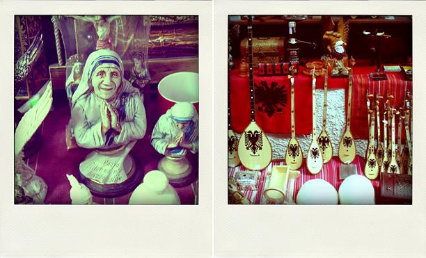 Слева - мать Тереза, справа - сувениры