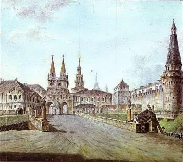Федор Алексеев. Вид Москвы около Иверских ворот Кремля. 1800