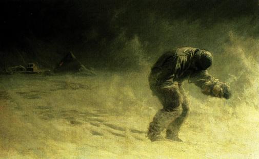 """Картина Дж. Ч. Доллмэна, изображающая смерть Оутса. 16 марта покинул палатку в снежный буран. «Оутс проспал предыдущую ночь, надеясь не проснуться, однако утром проснулся. Это было вчера. Была пурга. Он сказал: """"Пойду пройдусь. Может быть, не скоро вернусь."""" Он вышел в метель,"""