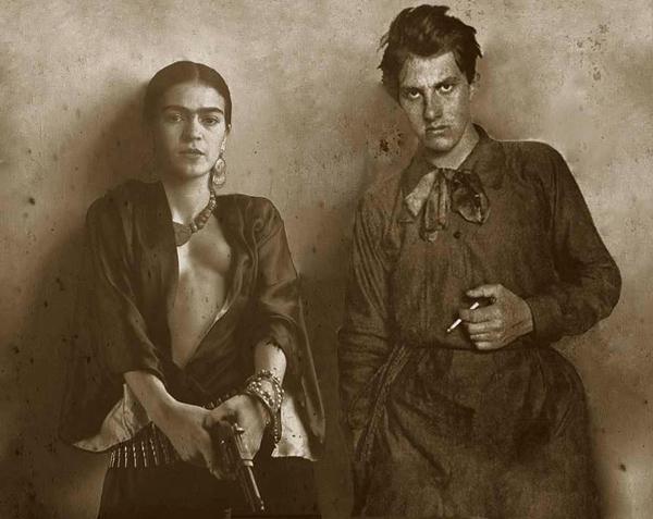 Маяковский и Фрида Кало. Этот коллаж называется «Двое» и сделан художником Александром Джикия