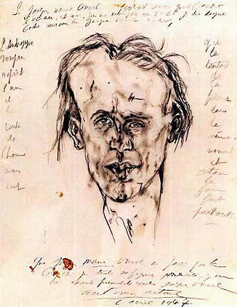 Антонен Арто Портрет Жака Превеля, 1947 г.