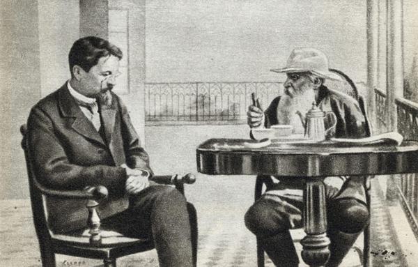 Чехов и Толстой. Фото: П.А.Сергеенко, 1901 г.
