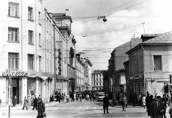 Фото: И.Нагайцев, Столешников переулок между 1987-1989 годами, фото с сайта Oldmos.Ru