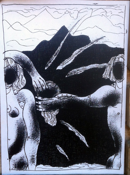 Илл.1 Первый лист «Каталога человеческих страстей и эмоций» -– в эстафете передачи человеческое сердце. 1973. 20.5х14 см