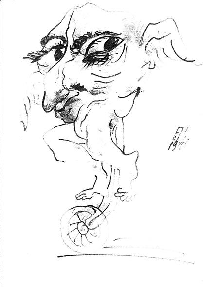 Илл.11 «Лучший наездник». Название Цея. Это его автопортрет. 1976. Чёрная тушь, перо.                20х29 см.