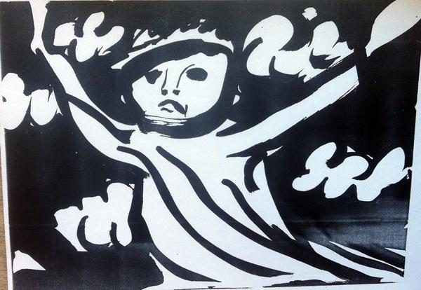 Илл.9 «Начало бури» (название Цея). 1980. Чёрная тушь, кисть. 19х26.5