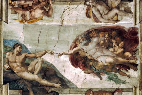 Сотворение Адама. Микеланджело