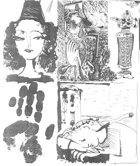 Иллюстрации к «La Barre D' Appui» П.Элюара: слева Пикассо, справа Цей.