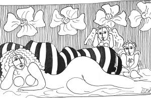 Эскиз. «Античная сказка». 1973 год; 26х25 см. Перо, тушь, цветная тушь.