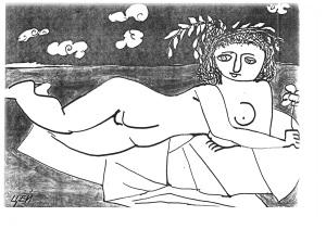 «Нимфа с цветком». 26,5х28,5 см.