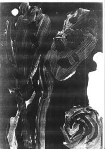 «Руки Бога»; 29,5х21 см. Чёрная гуашь.
