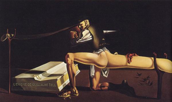 Сальвадор Дали. Загадка Вильгельма Телля (1933). На картине изображен В.И.Ленин