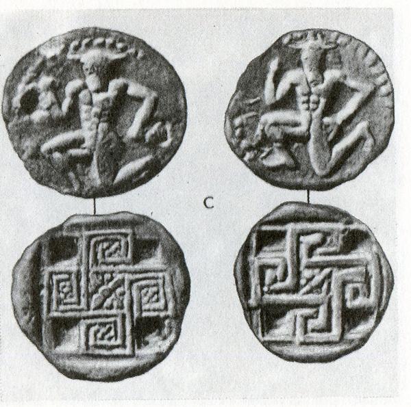 Кносские монеты с изображением Минотавра и Лабиринта в виде свастики