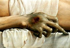 """Ганс Гольбейн Младший. """"Мертвый Христос в гробу"""", 1521-1522 (фрагмент)"""