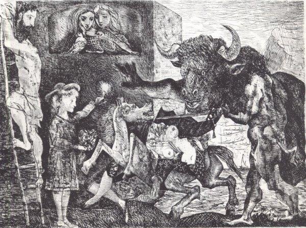 Минотавромахия. 1935. Офорт. 49,6Х69,3