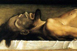 """Ганс Гольбейн Младший, """"Мертвый Христос в гробу"""", 1521-1522 (фрагмент)"""