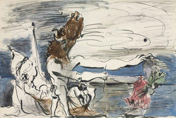 Пикассо. Слепой Минотавр, ведомый маленькой девочкой. 1934