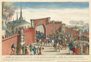 Вступление французов в Москву. Французский лубок. 1812.