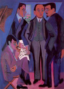 Эрнст Людвиг Кирхнер. Портрет участников группы «Мост». 1926-1927