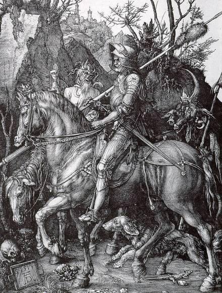 Дюрер. Рыцарь, смерть и дьявол. 1513