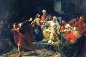 Иуда Искариот, бросающий сребреники. П.Васильев. 1858 г.