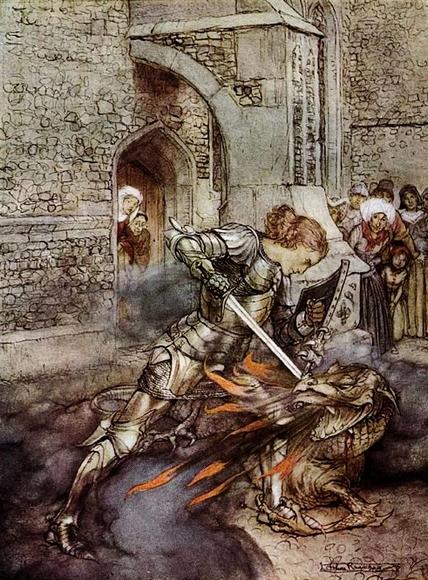 Ланселот поражает огнедышащего дракона. Артур Рэкем. 1917