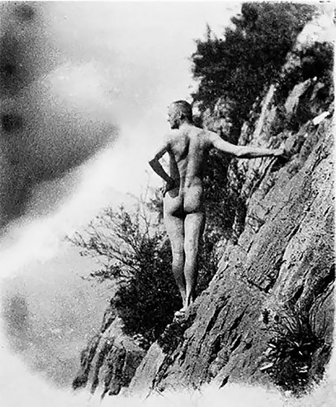 Hermann Hesse enjoying naked mountaineering in Amden