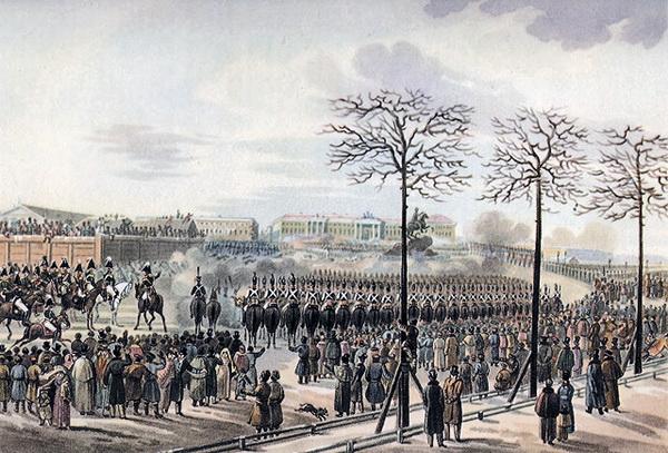 Сенатская площадь 14 декабря 1825 года. Рисунок Карла Кольмана из кабинета графа Бенкендорфа в Фалле