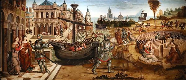 Maestro dei cassoni campana, teseo e il minotauro, 1510-15