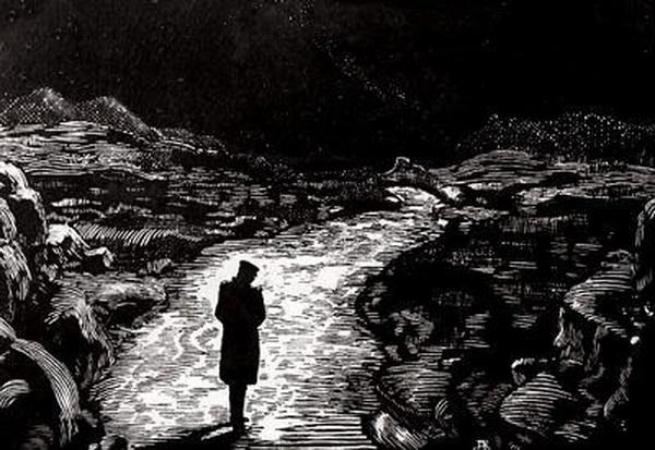 Иллюстрация Якимченко (1914) к стихотворению Лермонтова Выхожу один я на дорогу