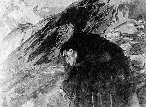 Михаил Врубель. Демон, смотрящий на долину