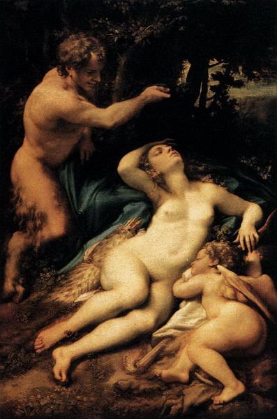 Антонио да Корреджо. Спящие Венера и Купидон с Сатиром