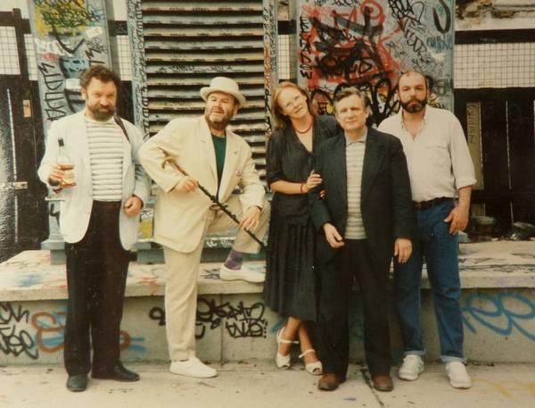 Слева направо: В.Воробьев, Толстый (В.Котляров), Т.Горичева, Ю.Мамлеев, И.Дудинский
