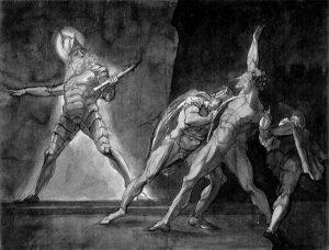 Гамлет, Горацио, Марцелл и призрак отца Гамлета. Г.Фюзели, 1780—85. Кунстхаус (Цюрих)