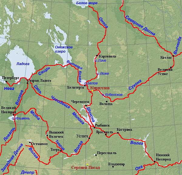 Карта водных путей северной части Европейской России. Рисунок Олега Давыдова