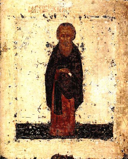 Икона Кирилла Белозерского, написанная с натуры Дионисием Глушицким (не путайте этого святого с живописцем Дионисием, нарисовавшим икону, стоящую выше)
