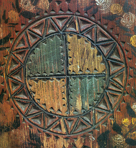 Фрагмент росписи вологодской прялки