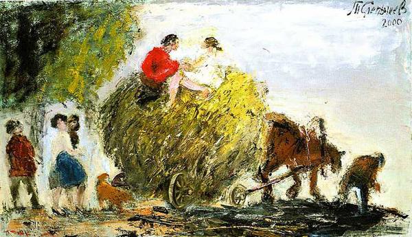 Воз сена. Картина Анатолия Слепышева