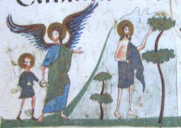 Иоанн Предтеча в пустыне. Миниатюра из Елисаветградского Евангелия