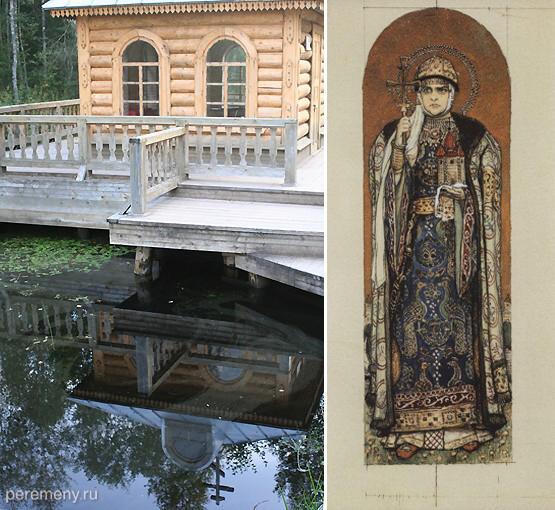 Слева часовня над истоком Волги в Волговерховьи. Фото Олега Давыдова. Справа В. М. Васнецов. Княгиня Ольга