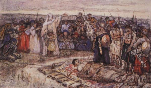 Княгиня Ольга встречает тело князя Игоря. Эскиз В. И. Сурикова, 1915