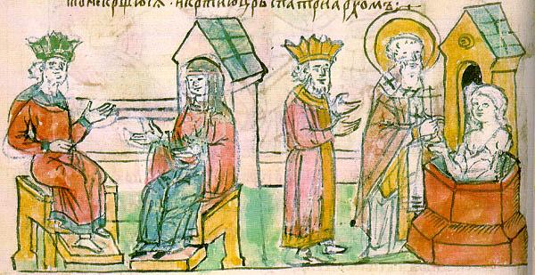 Крещение Ольги в Царьграде. Миниатюра из Радзивилловской летописи