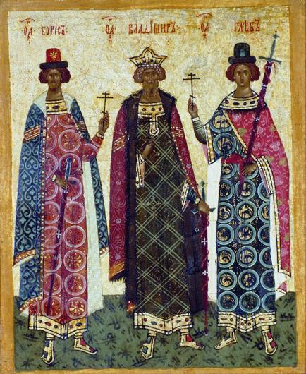 В центре Владимир, слева и справа от него Бори и Глеб