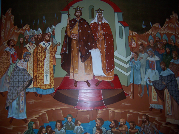 Князь Владимир и княгиня Ольга крестители Руси. Фреска в одной из киевских церквей